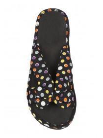 Womens Black Spot Cross Strap Bow Sandals