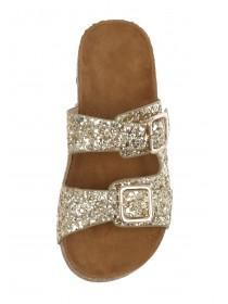 Older Girls Gold Glitter Footbed Sandals