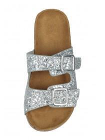 Older Girls Silver Glitter Footbed Sandals