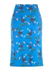 Womens Envy Blue Floral Wrap Skirt