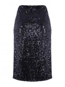 Womens Black Sequin Pencil Skirt
