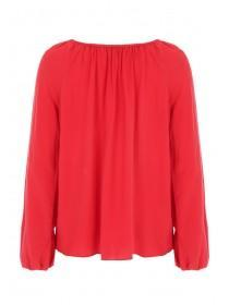 Womens Red Smock Gypsy Top