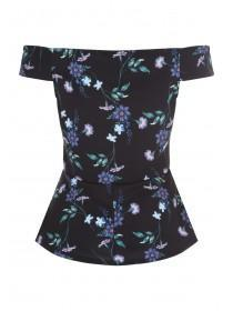 Womens Envy Black Floral Bardot Top