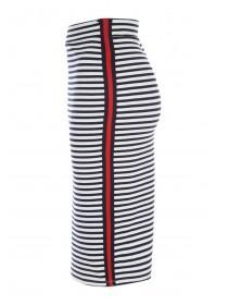Womens Navy and White Stripe Skirt