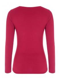 Womens Hot Pink Long Sleeve Crew Neck Top