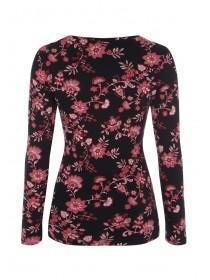 Womens Black and Wine Floral Top