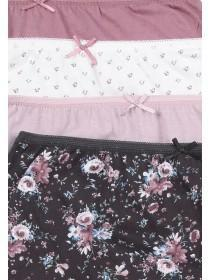 Womens 4pk Pink Floral Full Briefs