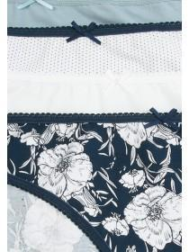 Womens 4pk Navy Floral High Cut Briefs