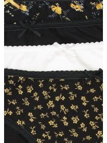 Womens 4pk Yellow Floral High Leg Briefs