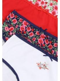 Older Girls 5pk Red Rose Briefs