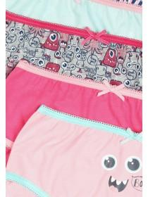 Older Girls 5pk Pink Monster Briefs
