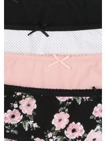 Womens 4pk Black Floral Mini Briefs