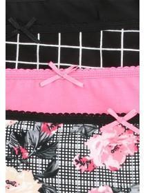 Womens 4pk Pink Check Mini Briefs