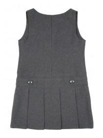 Girls Grey Pleated Back To School Dress