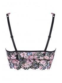 Womens Black Floral Lace Padded Bralette