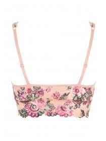 Womens Pink Floral Lace Padded Bralette