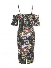 Womens ENVY Black Floral Cold Shoulder Dress