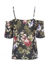 Womens ENVY Black Floral Cold Shoulder Top