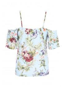 Womens ENVY Blue Floral Cold Shoulder Top