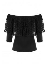Womens ENVY Black Lace Bardot Top