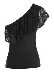 Womens ENVY Black Lace One Shoulder Top