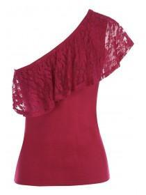 Womens ENVY Berry Lace One Shoulder Top