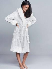 Womens Light Grey Dressing Gown