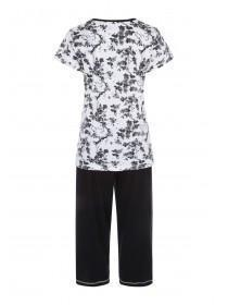 Womens Monochrome Floral Pyjama Set