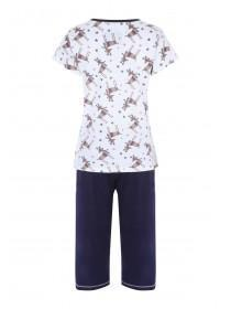 Womens Navy Reindeer Pyjama Set
