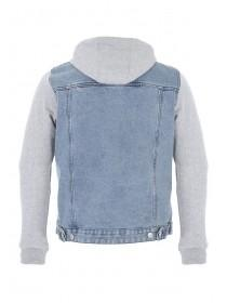 Mens Blue Denim and Jersey Jacket