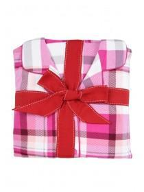 Womens Pink Check Pyjama Set