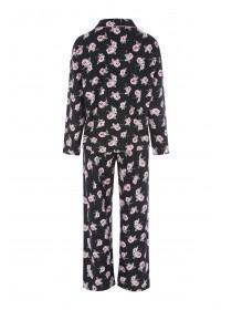 Womens Black Floral Pyjama Set