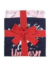Womens Navy Unicorn Slogan Pyjama Set