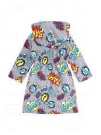Boys Grey Comic Dressing Gown
