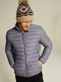 Mens Grey Padded Funnel Neck Jacket