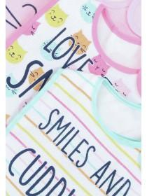 Baby Girls 5pk Pink Cat Slogan Bibs