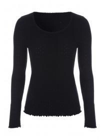 Womens Black Long Sleeve Thermal Top