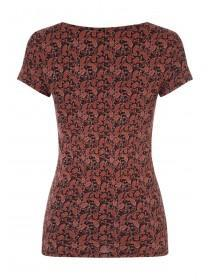 Womens Red Paisley T-Shirt
