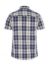Mens Cream Short Sleeve Check Shirt