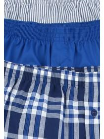 Mens 3pk Blue Check Loose Fit Boxers