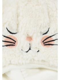 Younger Girls Cream Cat Fleece Hat