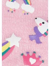 Younger Girls Pale Pink Unicorn Gripper Gloves