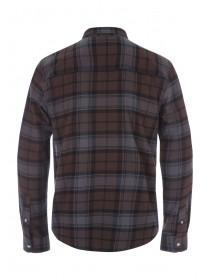 Mens Brown Check Flannel Long Sleeve Shirt