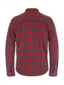 Mens Red Tartan Flannel Long Sleeve Shirt