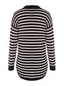 Womens Black Stripe Turtle Neck Jumper