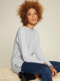 Womens Light Grey Button Side Jumper