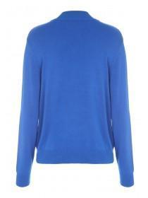 Womens Cobalt Blue Button Shoulder Jumper