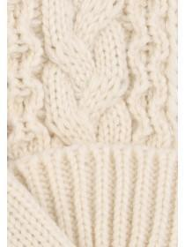Womens Cream Cable Gloves