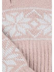 Womens Pink Fairisle Touch Screen Gloves