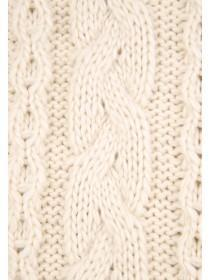 Womens Cream Cable Knit Scarf